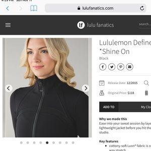 bb844d88ff4349 lululemon athletica Jackets   Coats - ⚡️Lululemon Define Jacket  Shine ...